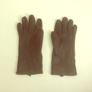 Brown Ralph Lauren Leather Gloves, Size S